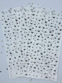 Cadeauzakjes - Wit met zwarte hartjes - 5 stuks