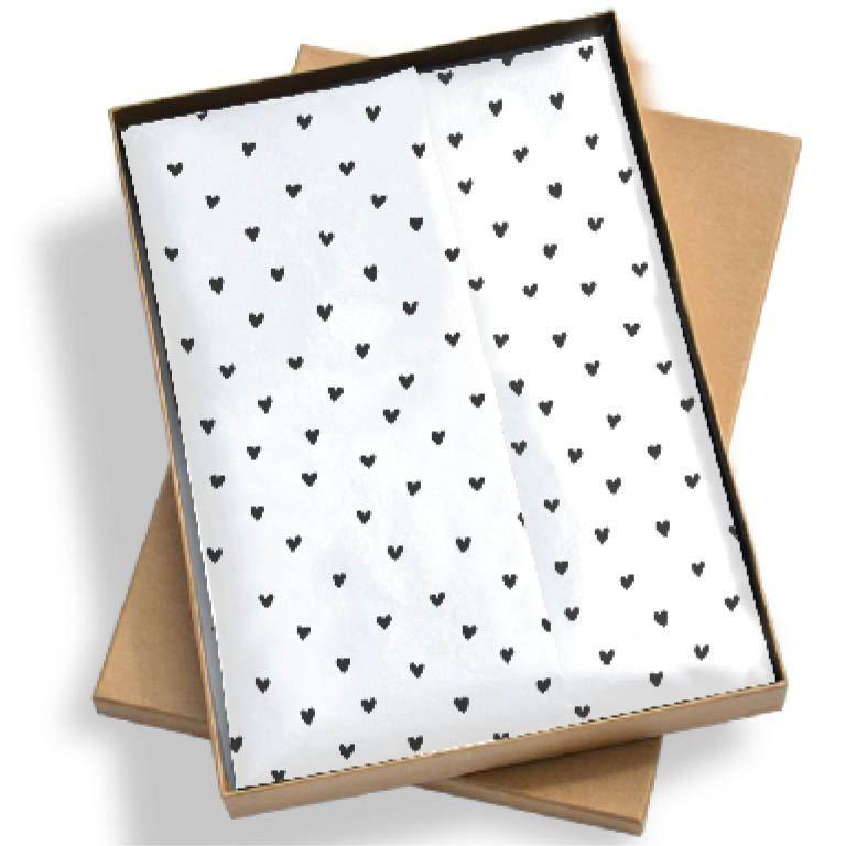 Vloeipapier - Wit met zwarte hartjes - 5 stuks