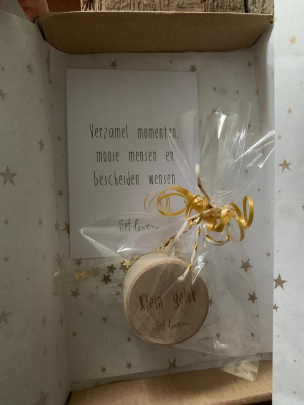 Geefdoosje klein - Houten doosje -Bescheiden wensen