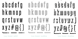 Lou alpha lowercase stamp set