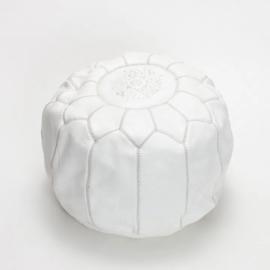 Leather pouf M White x White