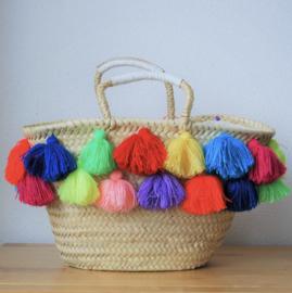 Double tassel basket White