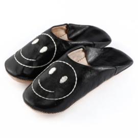 Kids' smiley babouche Black x White