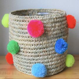 Cylindrical pom pom basket Multi color