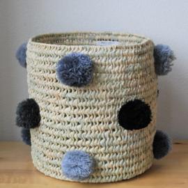 Cylindrical pom pom basket Gray