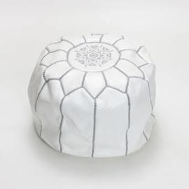 Leather pouf M White x Gray