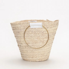 Round handle basket M White
