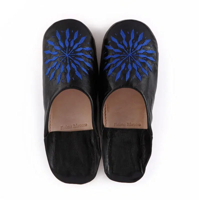 Embroidered babouche Black x Blue