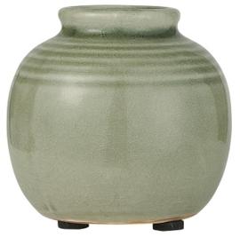 IB Laursen -  Mini  vaas dusty groen gegroefd gecraqueleerd oppervlak