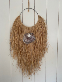 Wandhanger raffia schelp