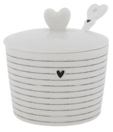Bastion Collections - Suikerpot wit met zwarte streepjes en hartje