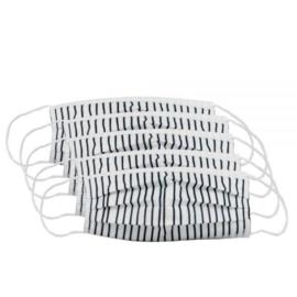 100% Leuk - Mondkapje - Wit met zwarte strepen