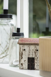 IB Laursen - Kandelaar glas voor dinerkaars zwart extra hoog