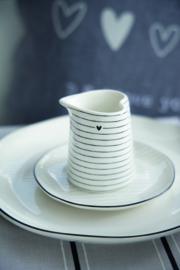 Bastion Collections - Bordje wit met zwart hartje en rand