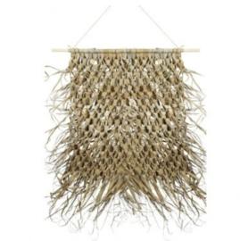 Wandkleed gevlochten palmblad aan stok - Mars&More