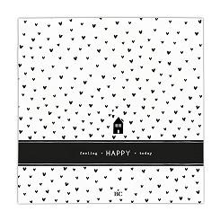 Bastion Collections - Servetten wit met zwarte hartjes Happy