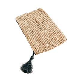 Raffia Clutch met rits - naturel