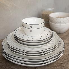 Bastion Collections - Ontbijtbordje wit met zwarte streepjes