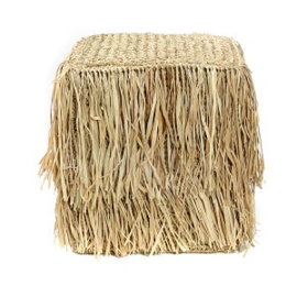 The Raffia Shaggy Stool - vierkant