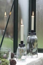 IB Laursen - Kandelaar glas voor dinerkaars zwart hoog