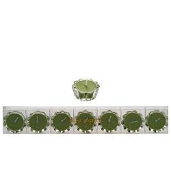 HS- Flower Votive kaarsjes groen - set van 7