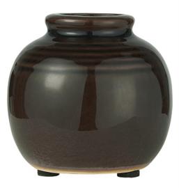 IB Laursen - mini  vaas zwart gegroefd gecraqueleerd oppervlak