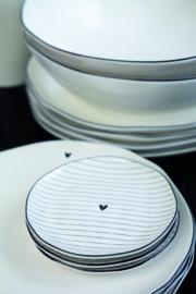 Bastion Collections - Bordje wit met zwarte streepjes en hartje