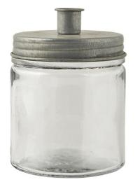 IB Laursen - Kandelaar glas voor dinerkaars metaal laag