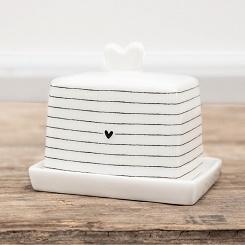 Bastion Collections - Mini botervloot wit met zwarte streepjes en hartje