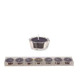 HS- Flower Votive kaarsjes zwart - set van 7
