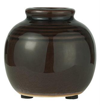 IB Laursen - mini  vaas donker bruin gegroefd gecraqueleerd oppervlak