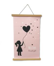 Textielposter 40x60 cm silhouet meisje met ballon