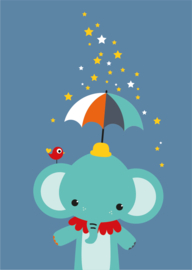 A3 poster Olifant met paraplu en sterren