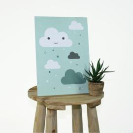 Set van 2 poster A4, met wolkjes, groen