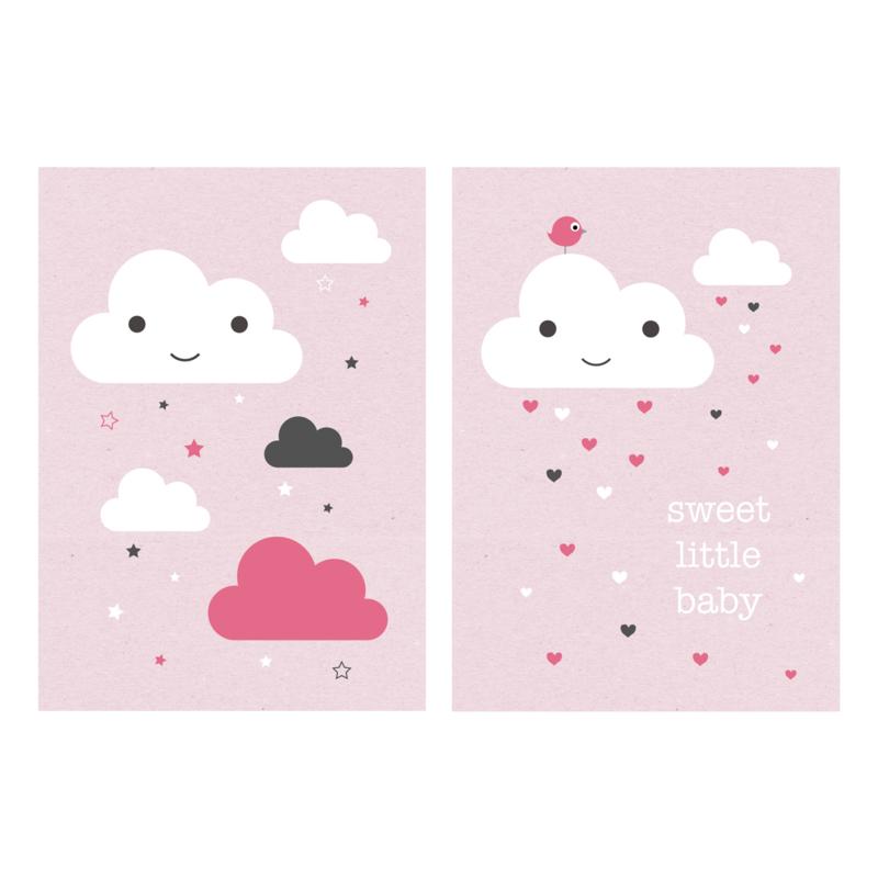 Set van 2 poster A4, met wolkjes, roze