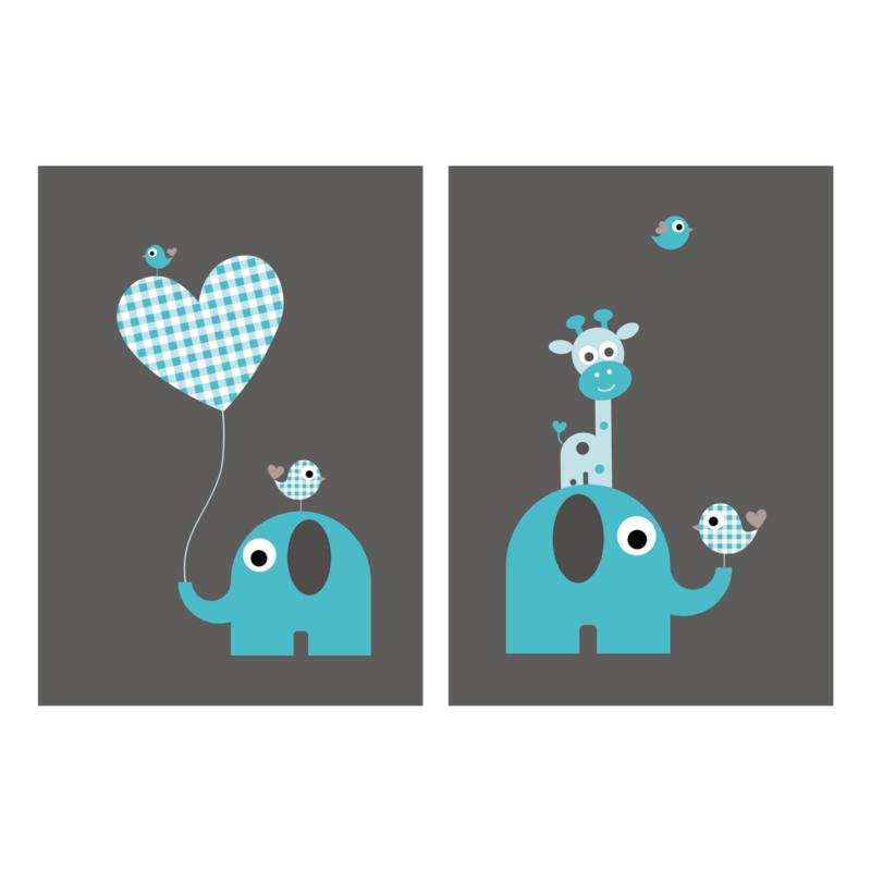 Setje van 2 posters met olifantje en giraf, blauw