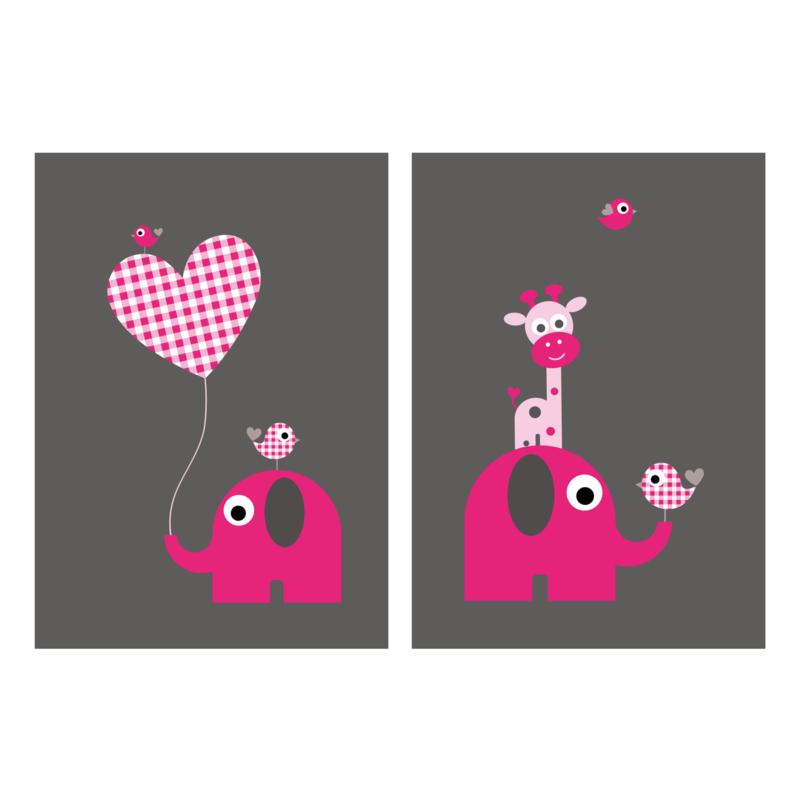 Setje van 2 posters met olifantje en giraf, roze