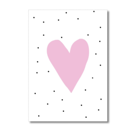 Kaart - Roze hart blanco