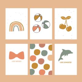 Kaarten set 'Confetti' - 6 stuks