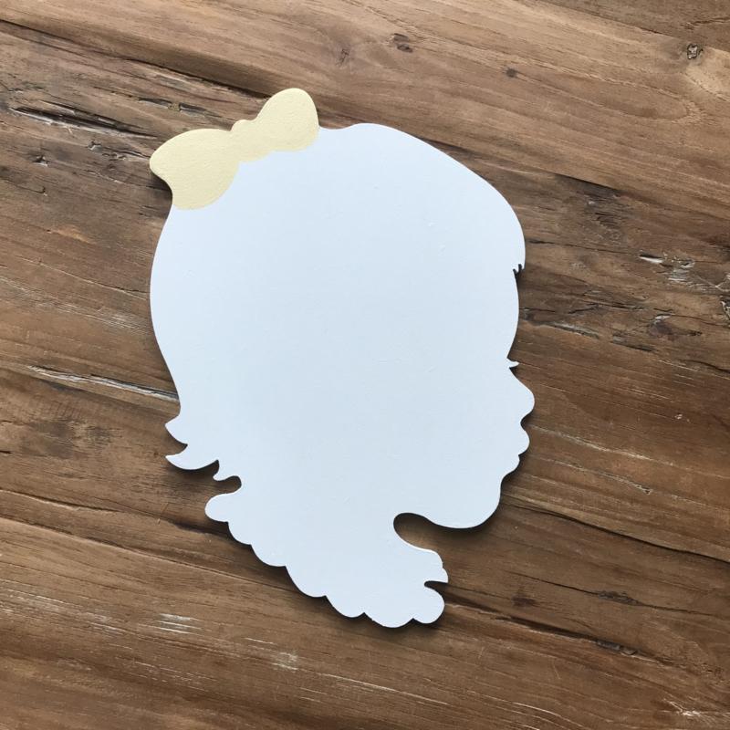 Wanddecoratie - geboortebord silhouet meisje
