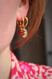 Hessoniet Granaat earrings gold