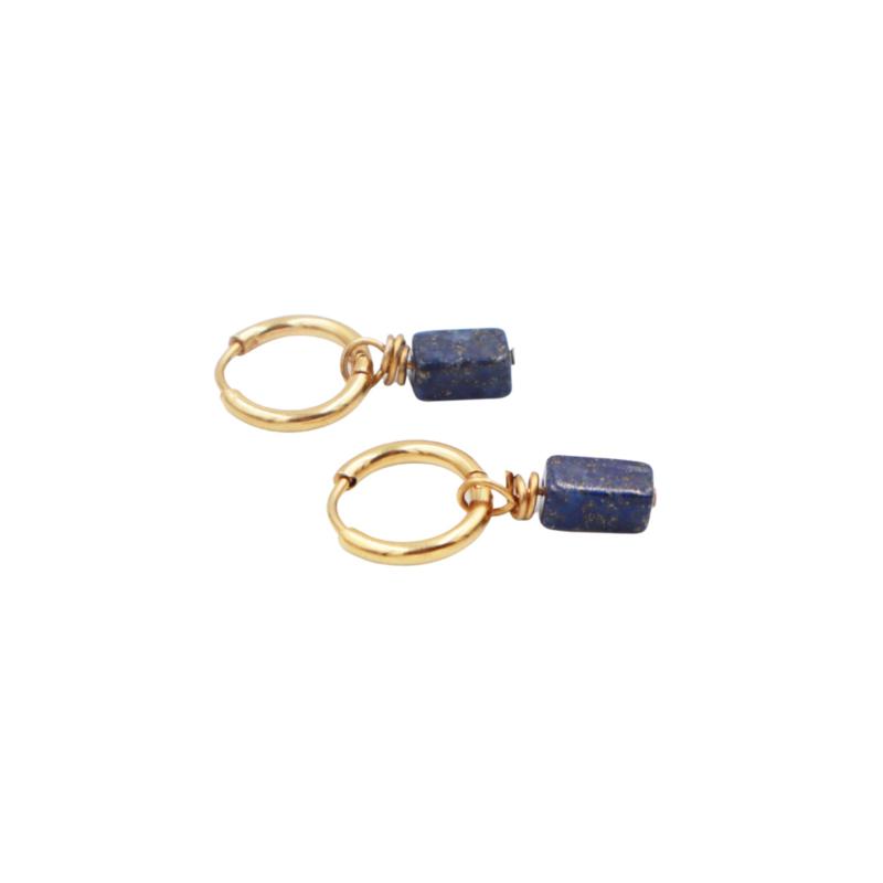 LAZULI EARRINGS GOUD (met lapis lazuli)