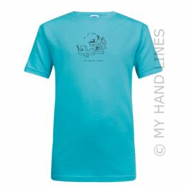 KIDS SLANK T-SHIRT TURQUOISE POPI - VALLENDE STER (merk RUSSELL™)