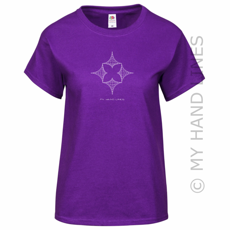 DAMES T-SHIRT PAARS SINGLE FLOWER (Merk FRUIT OF THE LOOM ®)