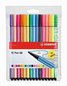 STABILO STIFTEN pen 68 - 10 + 5 NEON stuks