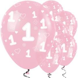 Roze ballonnen 1 jaar