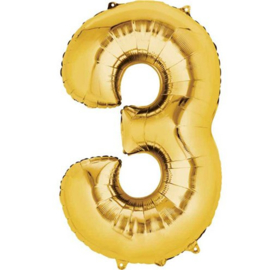Folieballon 3 goud 26''
