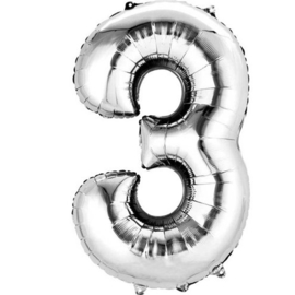Folieballon 3 zilver 26''