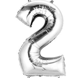Folieballon 2 zilver 26''