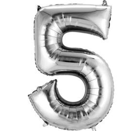 Folieballon 5 zilver 26''